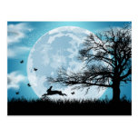 Mystical Moon With Rabbit Silhouette Postcard at Zazzle