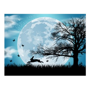 Mystical Moon With Rabbit Silhouette Postcard by HolidayBug at Zazzle