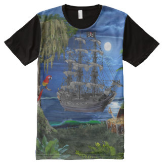 Mystical Moonlit Pirate Ship All-Over-Print T-Shirt