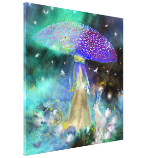 Mystical Mushroom and Rabbit Canvas Print