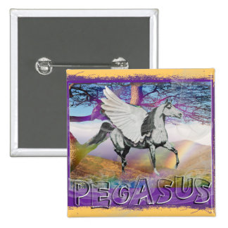 MYSTICAL MYTHICAL PEGASUS - WINGED HORSE - FANTASY PINBACK BUTTON