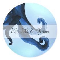 Mystical Ocean Octopus Wedding Classic Round Sticker