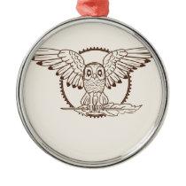 Mystical Owl in Flight Metal Ornament