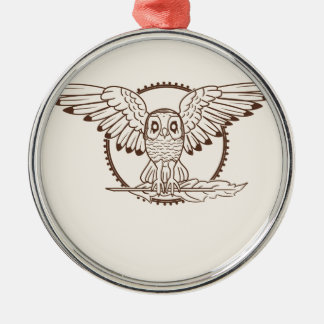 Mystical Owl in Flight Metal Ornament