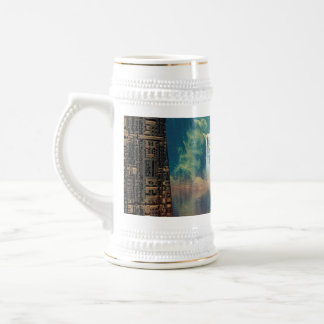 Mystical place with alien ships and buildings 18 oz beer stein