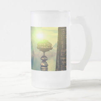 Mystical place with alien ships and buildings 16 oz frosted glass beer mug