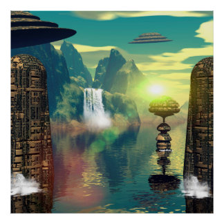 Mystical place with alien ships and buildings poster