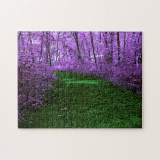 Mystical Purple Forest and Emerald Green Path Jigsaw Puzzle