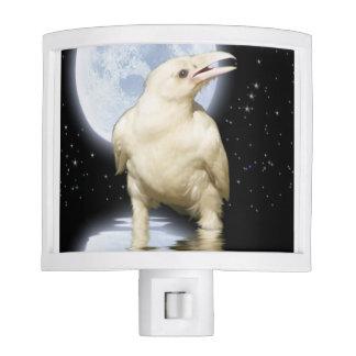 Mystical Rare White Raven & Moon Night Light