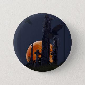Mystical Raven, Moon & Goth Graveyard Button