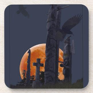 Mystical Raven, Moon & Goth Graveyard Coaster