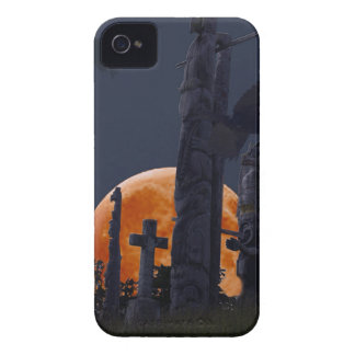 Mystical Raven, Moon & Goth Graveyard iPhone 4 Case-Mate Case