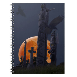 Mystical Raven, Moon & Goth Graveyard Notebook