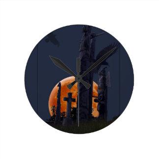Mystical Raven, Moon & Goth Graveyard Round Clock