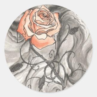 Mystical Rose In Darkness Classic Round Sticker
