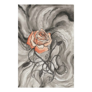 Mystical Rose In Darkness Poster