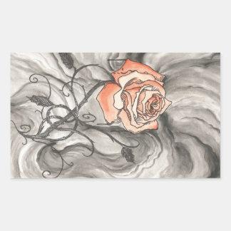 Mystical Rose In Darkness Rectangular Sticker