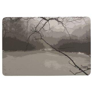 Mystical Swamp Fog in Black Brown Gray Floor Mat