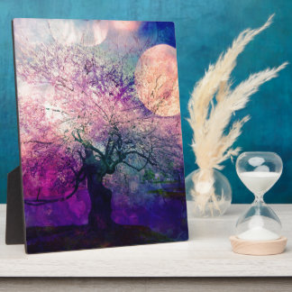 Mystical Tree and Night Moon Plaque