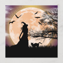 Mystical Witch and Cat Full Moon Invitation