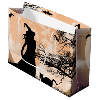 Mystical Witch and Cat Full Moon Large Gift Bag