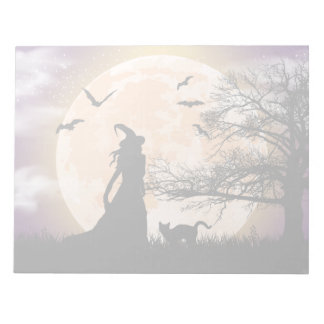 Mystical Witch and Cat Full Moon Memo Notepad