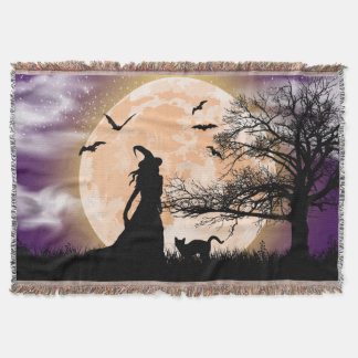 Mystical Witch and Cat Full Moon Throw Blanket