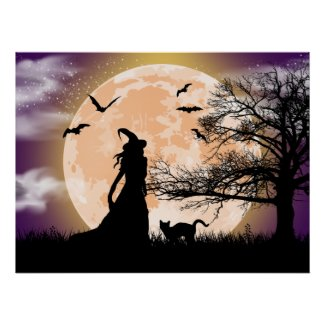 Mystical Witch, Black Cat, Full Moon Poster