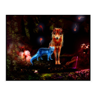 Mystical Wolf and Fox Post Card