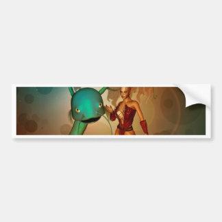 Mystikoi hermoso del wirh del duende pegatina de parachoque