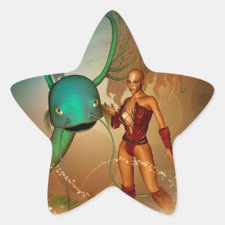Mystikoi hermoso del wirh del duende pegatina en forma de estrella