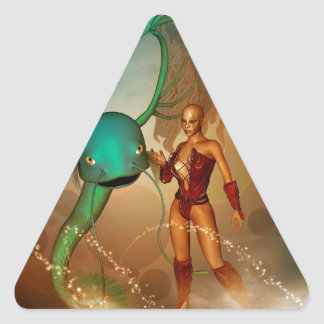 Mystikoi hermoso del wirh del duende pegatina triangular