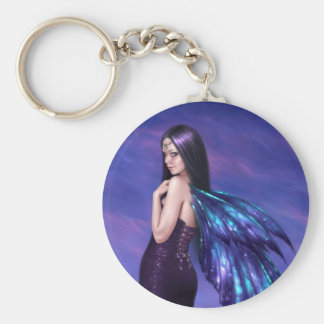 Mystique Galaxy Wing Fairy Keychain Basic Round Button Keychain