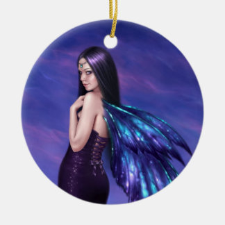 Mystique Galaxy Wing Fairy Round Ceramic Ornament
