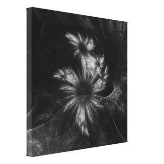 Mystique Garden Abstract Art Black and White Canvas Print