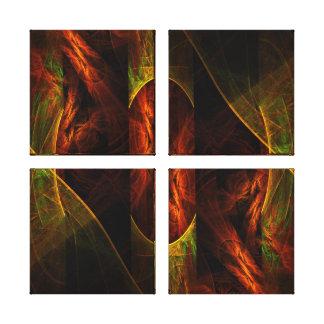 Mystique Jungle Abstract Art Quad Canvas Print