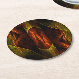 Mystique Jungle Abstract Art Round Paper Coaster