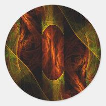 mystique, jungle, abstract, art, round, sticker, Sticker with custom graphic design