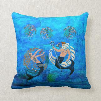 Myth of the Seas New Age Folk Art Throw Pillows