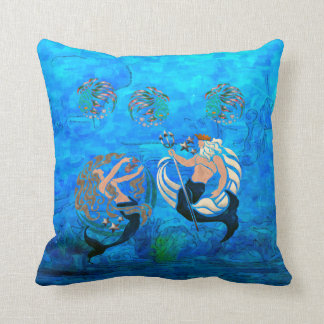 Myth of the Seas New Age Folk Art Throw Pillow