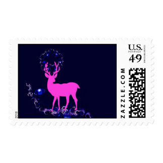 myth pink deer in night scene postage