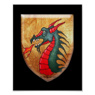Mythical Beast Dragon Shield Poster