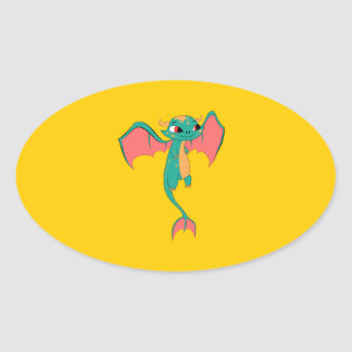 Mythical Flying Dragon Oval Sticker