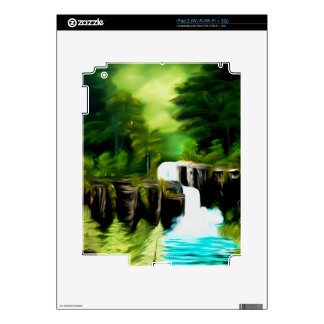Mythical Green Fantasy Falls Decals For iPad 2