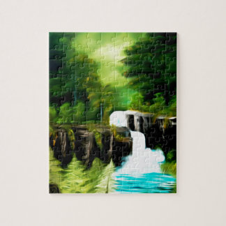 Mythical Green Fantasy Falls Jigsaw Puzzle