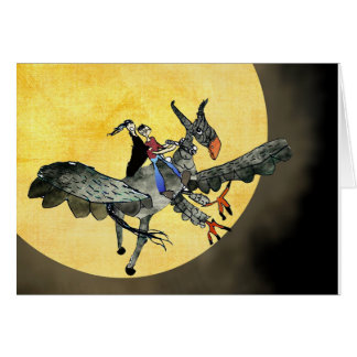 Mythical hippogriff flying over the moon card