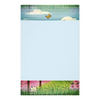 Mythical Landscape Background on Stationery
