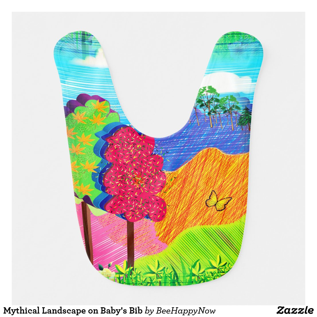 Mythical Landscape on Baby's Bib
