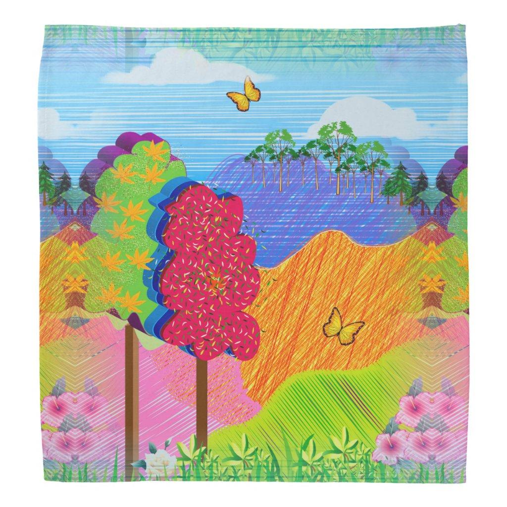 Mythical Landscape on Bandana