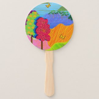 Mythical Landscape on Hand Fan